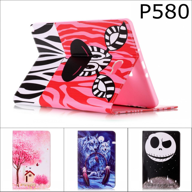 Fashion Cartoon Eiffel Tower flower wallet card PU Leather stand holder Cover Case For Samsung Galaxy Tab A A6 10.1 P580 P585