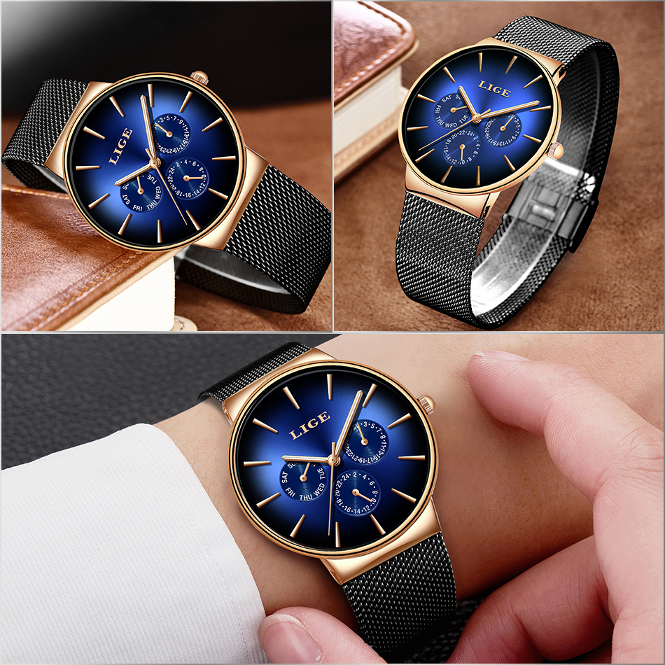 HTB1OnAVS9zqK1RjSZFjq6zlCFXa3 2019 LIGE Casual Thin Mesh Belt Fashion Quartz Gold Watch Mens Watches Top Brand Luxury Sport Waterproof Clock Relogio Masculino