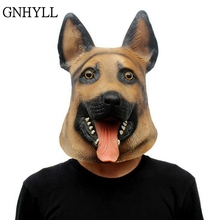 new German Shepherd Dog Head Latex Mask Full Face Adult Halloween Masquerade Fancy Dress Party Cosplay Costume Animal Masks