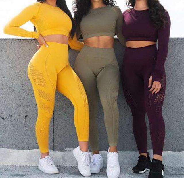 Seamless Yoga Sets High Waist Gym Mesh Leggings Shirts Suit Long Sleeve Fitness Workout Sport Running Sportswear Yoga Sets 7 colors