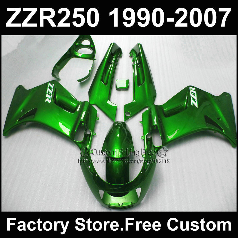 ABS plastic factory fairings kit for Kawasaki ZZR-250 ZZR250 1990 1992 2007 ZZR 250 90-07 dark green motorcycle fairing parts