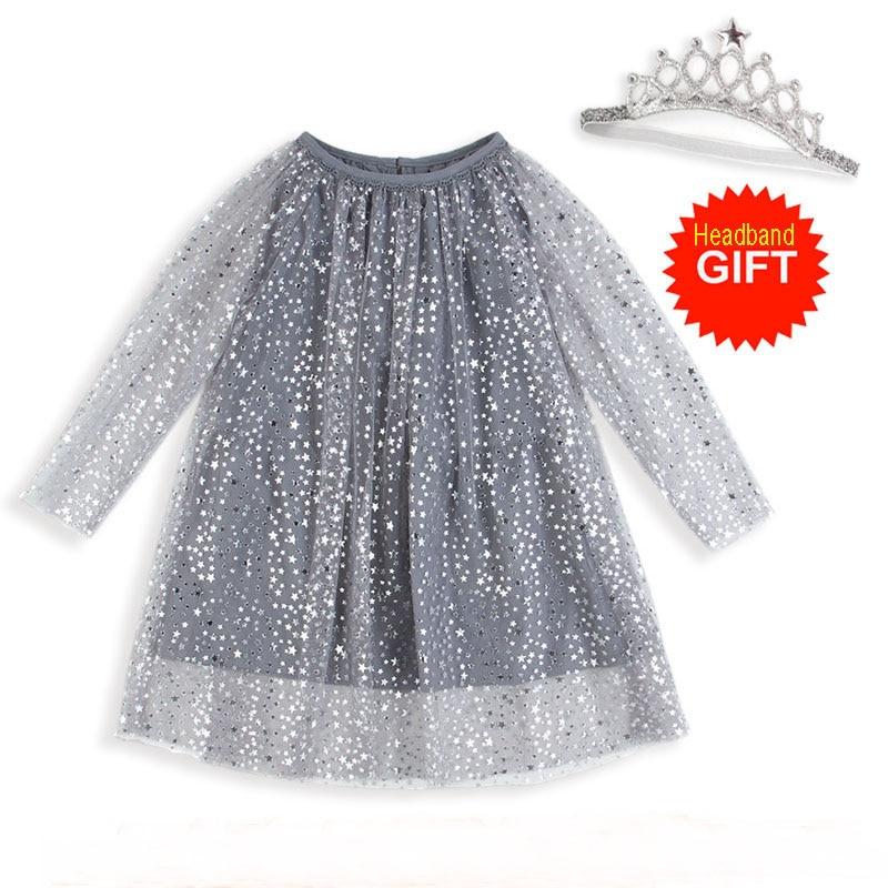 El traje de la princesa brillante de cumpleaños de bebé con mangas vestido niñas túnica vestido de navidad niños ropa traje Fille de los niños vestidos de