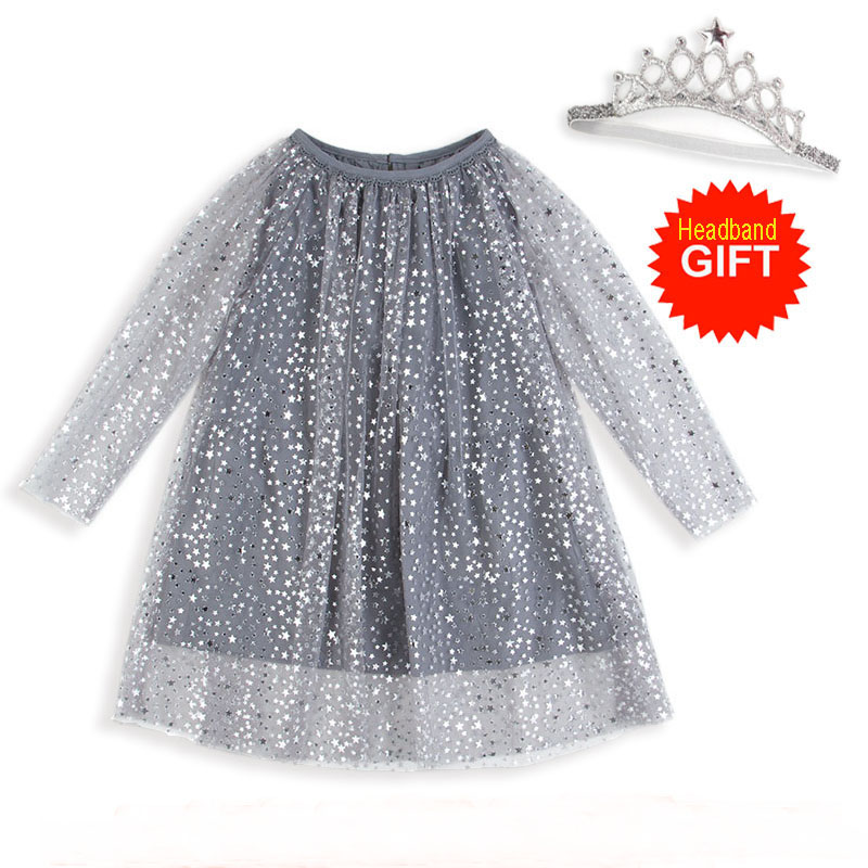 Princess Costume Shining Baby Birthday Dress With Sleeves Girls Tunic Dress Christmas Kids Clothing Robe Fille Children Dresses girls lace flare sleeve christmas princess dress kids dresses for girls dress kids party dresses children clothing robe fille