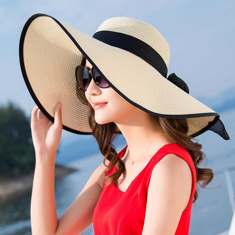 551d6e739 Large Brim Sun Hat Summer Paper Straw Hats Women Ladies UV Protect Floppy  Beach Cap Kentucky Derby Party Drress Hats B-7834