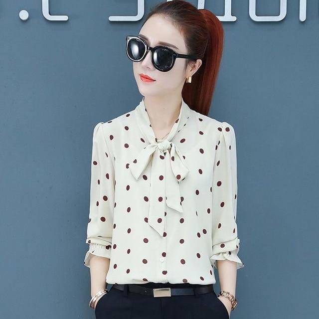 Spring Polka Dot Print Chiffon Blouses Women Lace-up Bow Office Elegant Shirts Tops Long Sleeve V-neck Blusas Mujer DD2614 2