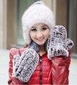 Hot sale Winter 2016 brand famous designer Luxury Knitted rex rabbit Fur Gloves Female Mittens For women  Wholesale