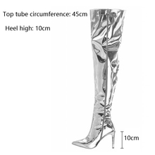 Mirror Platform Pointy Toe Punk High Thin Heels Over The Knee Long Boots Autumn Winter Zip Silver Casual Party Shoes