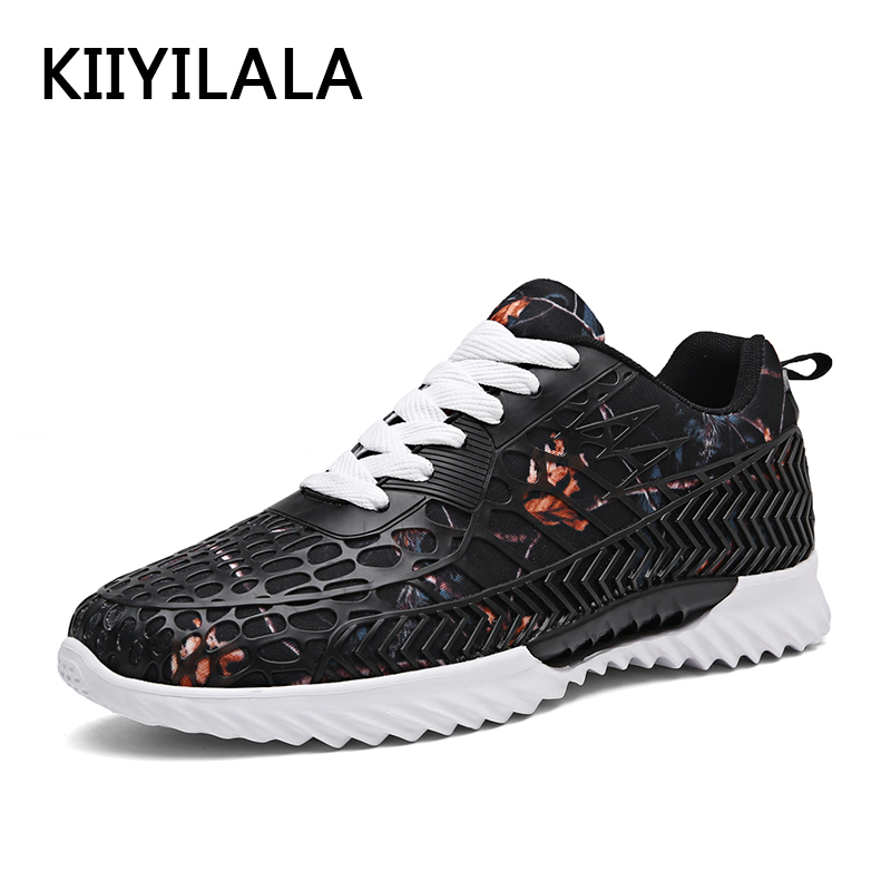 KIIYILALA Black Sneakers Men Sports Breathable Running Shoes Hollow Soft Spring Summer Mesh Sport Lace-up Light Running-Shoes