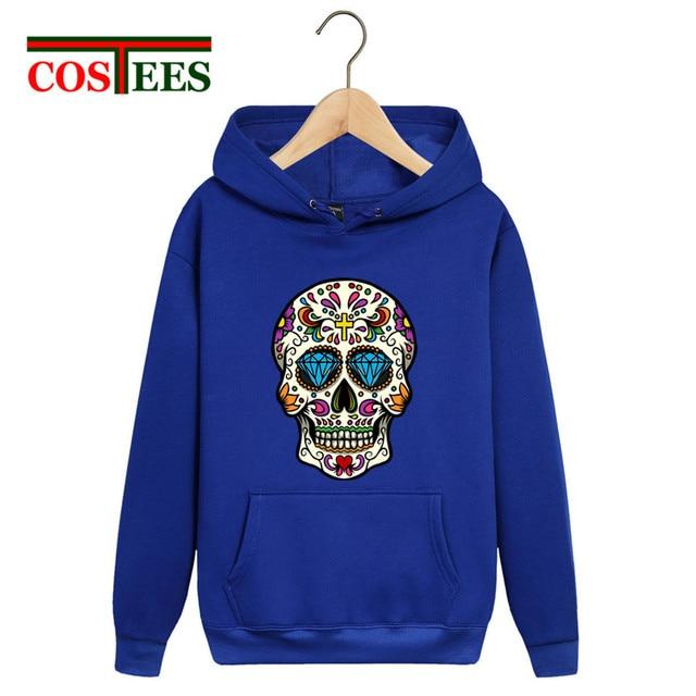 Boho Vestidos Verano 2018 Sugar Mexican Skull Hoodie Men Fashion