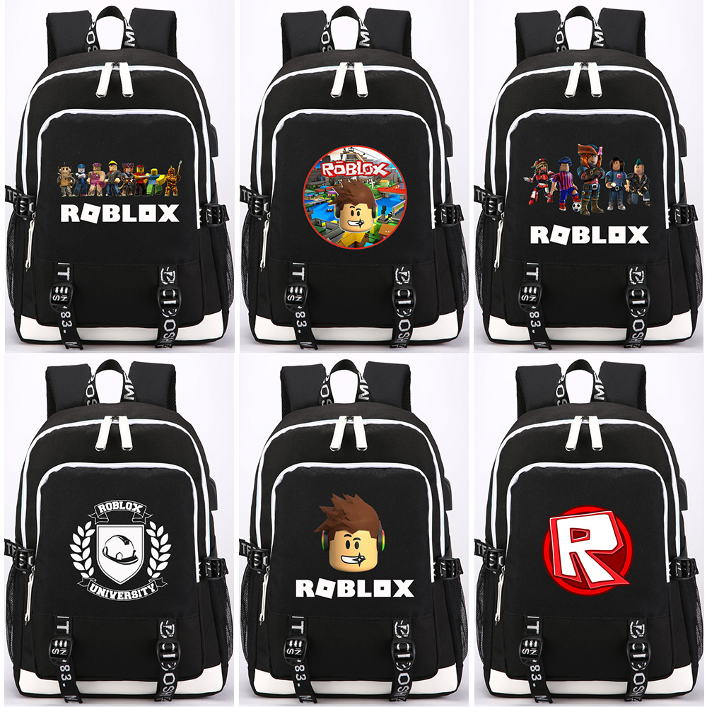 2019 Hot Games Roblox Letter Prints USB Headphone Jack Boy Girl School Bag Women Bagpack Teenagers Canvas Men Backpack Packsack