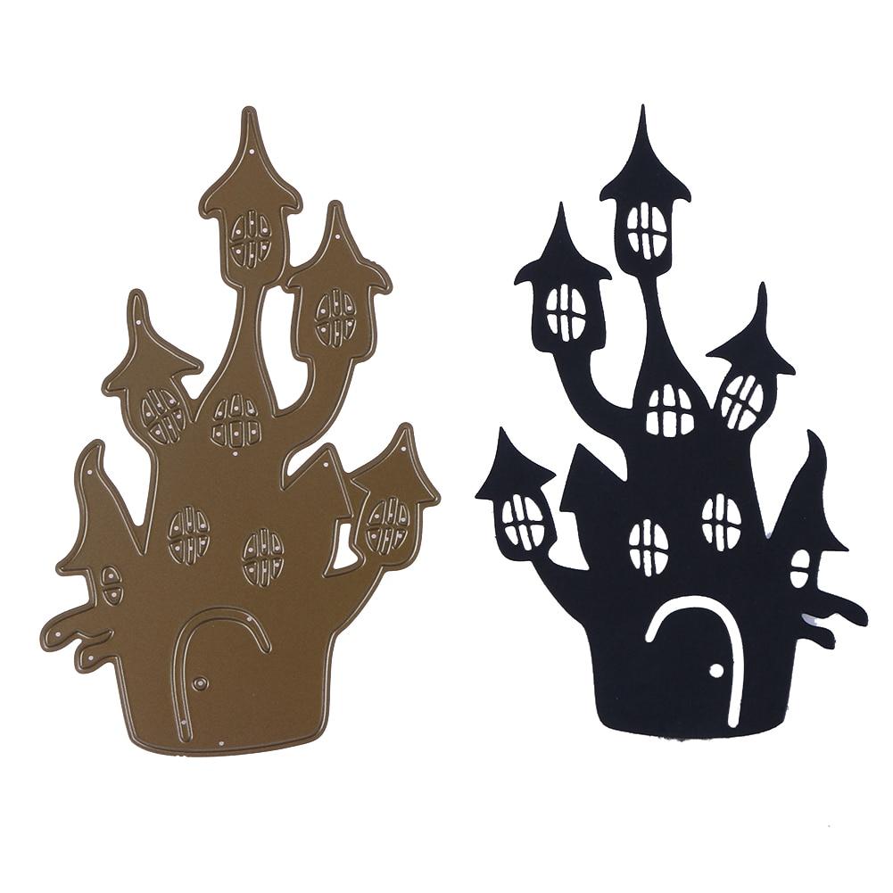 DIY Halloween Haunted House Metal Cutting Dies Stencil for Scrapbooking Die Cuts Paper Card Embossing Folder
