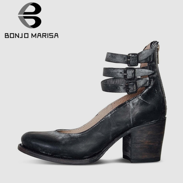c87c69b3251 US $37.17 |BONJOMARISA 2019 New Vintage Fake Leather Spring Pumps Women  Large Size 35 43 Hot Sale High Wide Heels Shoes Woman-in Women's Pumps from  ...