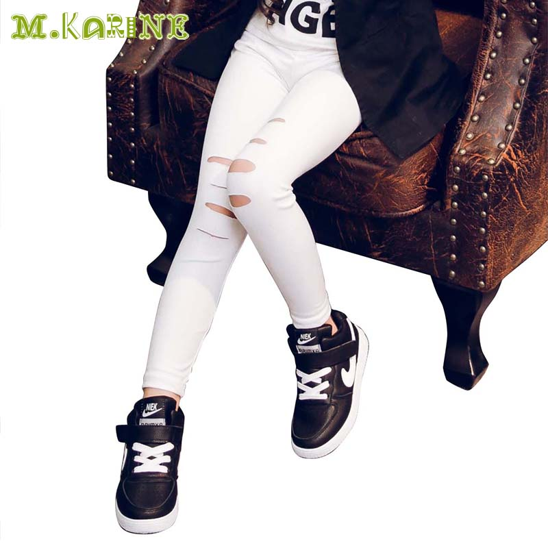Hot 2016 New Girls Leggings Children's Clothing Baby Kids Leather Pants with Hole in Knee Solid Skinny Toddler Leggins Pantalon