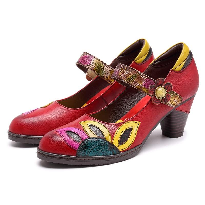 Vintage Printed Pumps Women Shoes Genuine Leather Block Mid Heel Ankle Hook Loop Mary Jane Shoes Woman Retro Heels Zapato