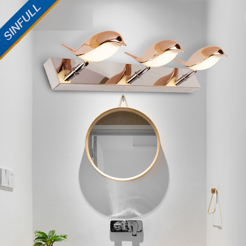 Simple Bathroom Stainless Steel Led Mirror Light Toilet Mirror Cabinet Lights Dresser Makeup Wall Lamp Factory Wholesale SINFULL modern led bathroom light stainless steel led mirror lamp dresser cabinet waterproof sconce indoor home wall lighting fixtures