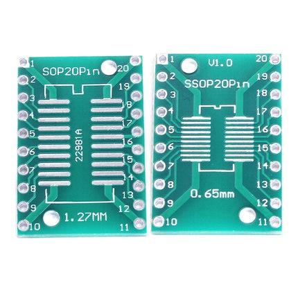 10Pcs SOP20 SSOP20 TSSOP20 To DIP20 Pitch 0.65//1.27MM Adapter Pcb Board in