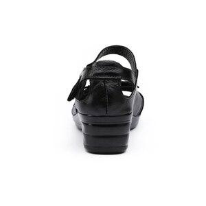 Image 5 - BEYARNE sandały gladiatorki damskie eleganckie oryginalne krowy skórzane klinowe średni obcas 4cm tkanina w kwiaty damskie buty i sandały butyse001
