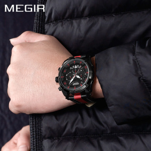 Image 5 - MEGIR Chronograph Sport Watch Men Quartz Wristwatches Clock Fashion Leather Army Military Watches Hour Time Relogio Masculino