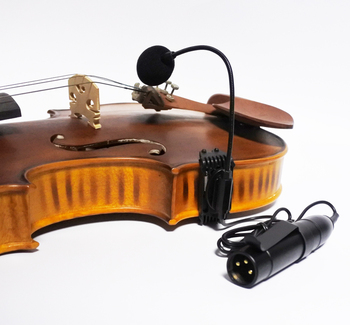 acoustic violin fiddle gooseneck clip on condenser microphone with XLR phantom power converter preamp instrument mic