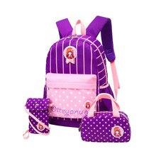 Высокая Ёмкость рюкзак 3 шт./компл. Школьные сумки для подростков Обувь для девочек Рюкзаки печати милые школьная сумка Mochila Feminina
