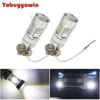30W H3 6 SDM LED White Bulb Fog Light JDM Color Replacement Plug Play Off Road