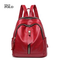 Genuine Leather Backpack Vintage Cow Split Leather Women Backpack Ladies Shoulder Bag School Bag For Teenage