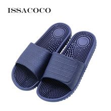 ISSACOCO Mens Flat Indoor Massage Slippers Men Home Non-slip Zapatos Hombre Beach Flip Flops Slides