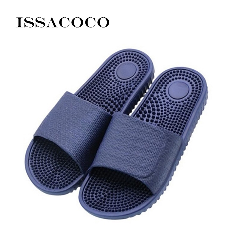 ISSACOCO Men's Summer Indoor Massage Slippers Men Home Non-slip Massage Slippers Zapatos Hombre Beach Flip Flops Men's Slides