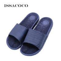 ISSACOCO pantoufles de Massage d'intérieur plates pour hommes accueil pantoufles de Massage antidérapantes Zapatos Hombre tongs de plage toboggans pour hommes
