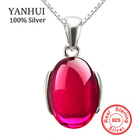 Sent Certificate Luxury 5 Carat Ruby Pendant Necklace 925 Solid Sterling Silver Necklace Women Red Gem