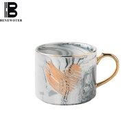 200ml European Style Handle Cup Marble Texture Ceramic Mug Home Coffee Cups Creative Love Heart Pattern Mugs Breakfast Drinkware