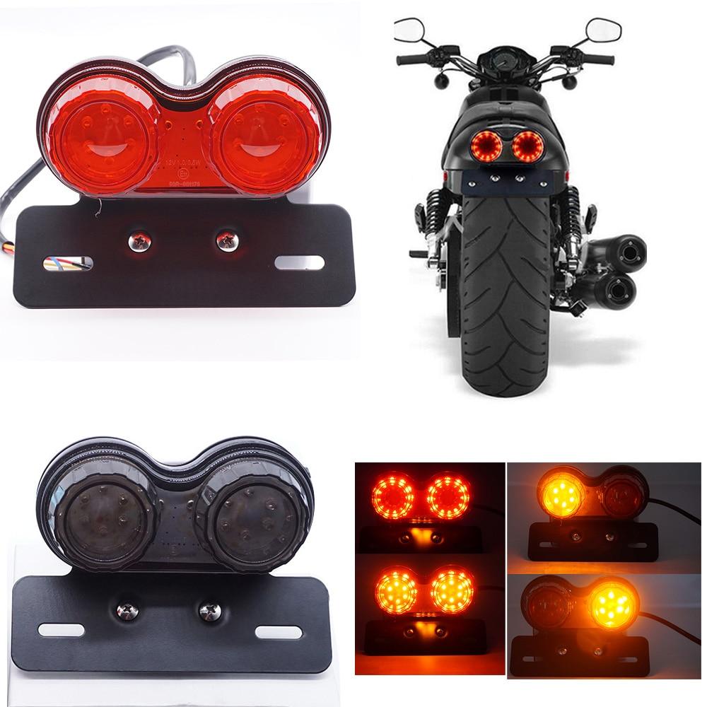 Motorcycle License Number Plate Holder Tail Light Mount LED Bracket Universal CE