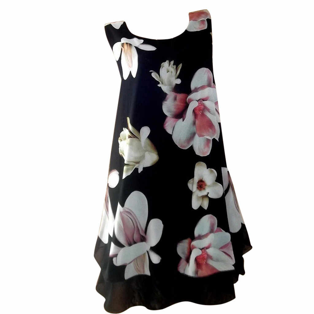 Fashion Clothes Summer Dress Women Casual Chiffon O-Neck Floral Print Sleeveless Patchwork Dress Plus Size