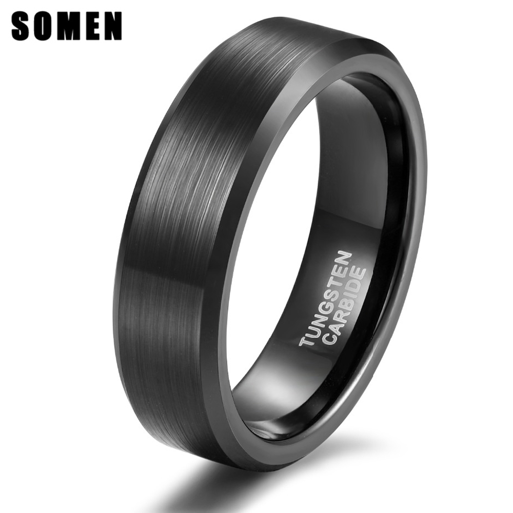 Somen Tungsten Lelaki Wanita Cincin 6mm Black Brushed Tungsten Carbide Ring Wedding Band Engagement Cincin Barang Kemas Anel Anillos