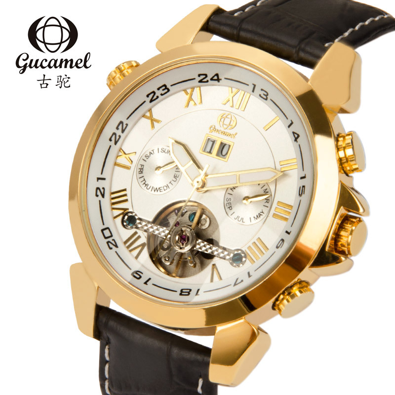 GUCAMEL Fashion Brand Mens Automatic Wristwatches Tourbillon Mechanical Male Watch Genuine Leather Band Date Watches WaterproofGUCAMEL Fashion Brand Mens Automatic Wristwatches Tourbillon Mechanical Male Watch Genuine Leather Band Date Watches Waterproof