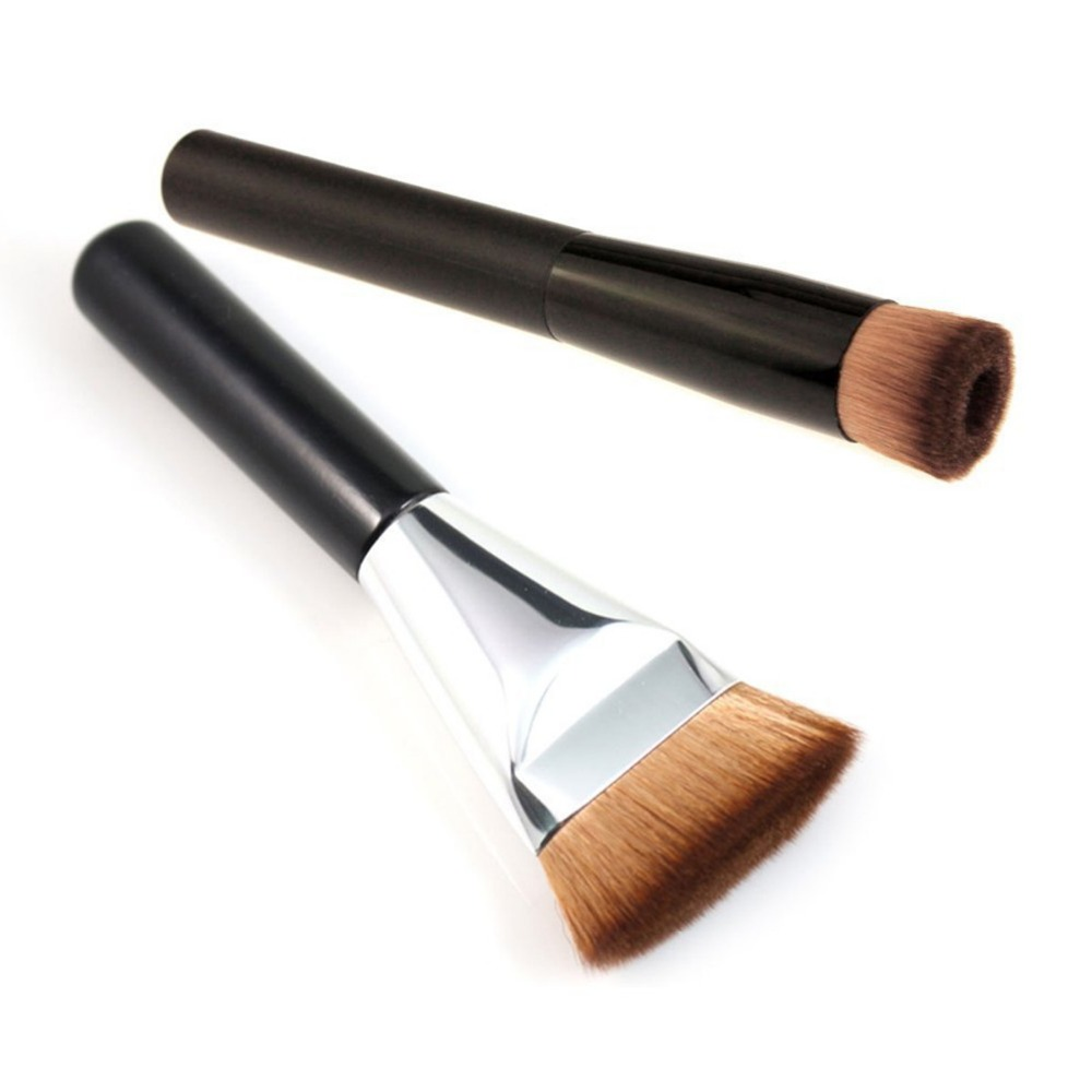 2pcs Perfecting Face Brushes Professional Cosmetic Flat Contour Brush Super Soft Big Blend Makeup Brush Concave Foundation Brush