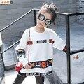 IAiRAY новый 2017 весна осень корейский стиль большие девочки свитер с длинным рукавом круглый шея свободные белый свитер детей верхняя одежда