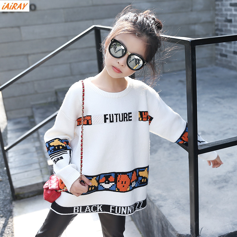 iAiRAY brand new 2018 spring autumn korean style big girls sweater long sleeve round neck loose white sweater children outerwear beige round neck love patchwork sweater