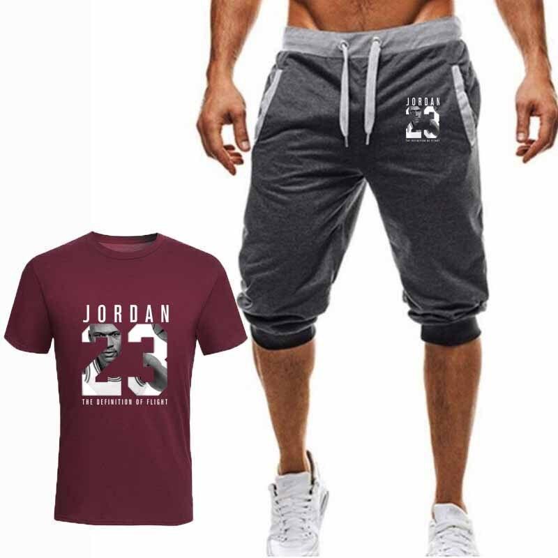 e5c803877c 2019 nuevo T-shirt + Pantalones cortos hombres conjuntos de Jordan 23 los hombres  ropa de marca traje de dos piezas de los hombres ropa Deportiva chándal ...