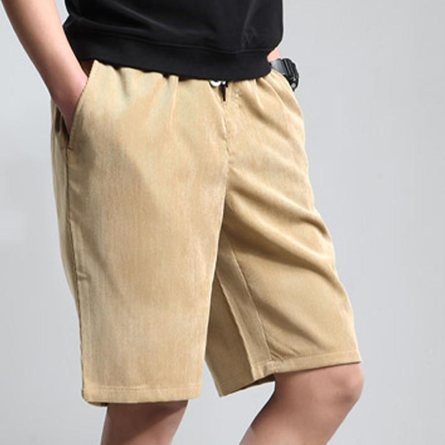 Vintage Casual Shorts Men Big Size Knee Length Khaki Elastic Waist Corduroy Shorts Mens Bermuda Academia Masculino Swag 6D56