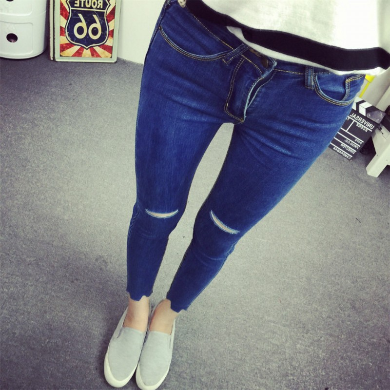 Blue Knee Hole Capris Female 2017 New Personality Ripped Skinny Jeans Women Small Feet Pencil Pants
