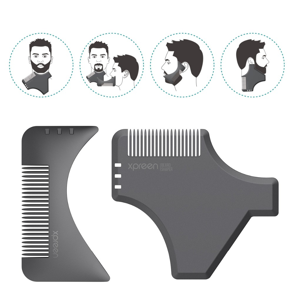 XPREEN 2 Pcs Beard Shaping Template Comb Multi-functional Men's Beard Shaping Trimmers Hair brush Set Mustache Jaw Line Styling 2