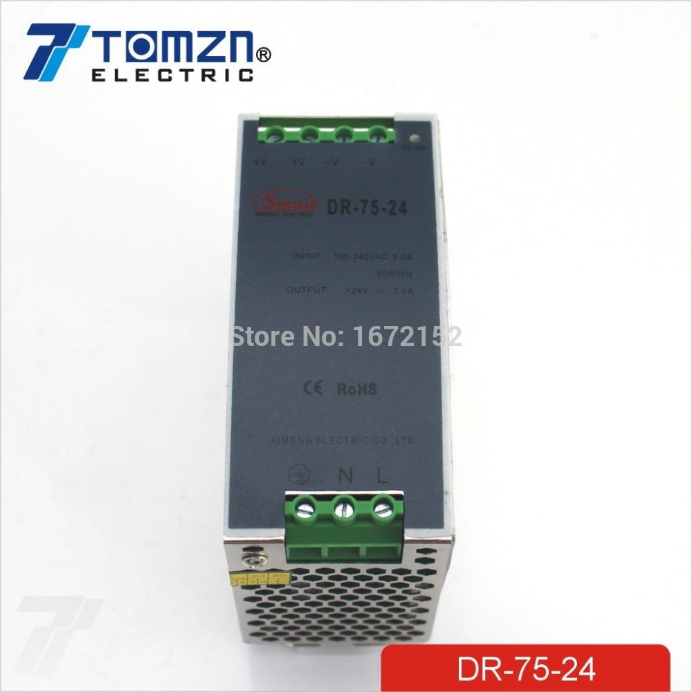 75W 24V 3.2A 110-240V INPUT Din Rail Single Output Switching power supply