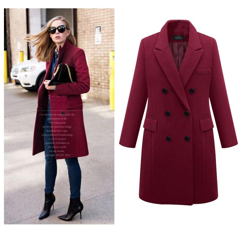 2016 European Women Autumn Winter Coat High Quality Woolen Coat Solid Color Elegant Casual Wool Big Yards Coat Plus Size 5XL (7)