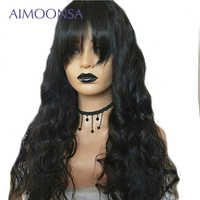 13x6 Lace Front Wig 250 Density Brazilian Body Wave Human Hair Wigs With Bangs Natural Hair Pre Plucked Lace Wig Remy Aimoonsa