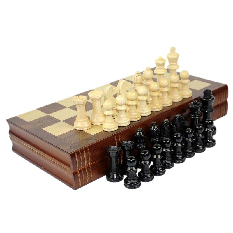 High Grade Coffee Lattice Books Shape Folding Wooden Table Box Chess Set King 75mm Wood Solid Chessman Board Games Children Gift 1