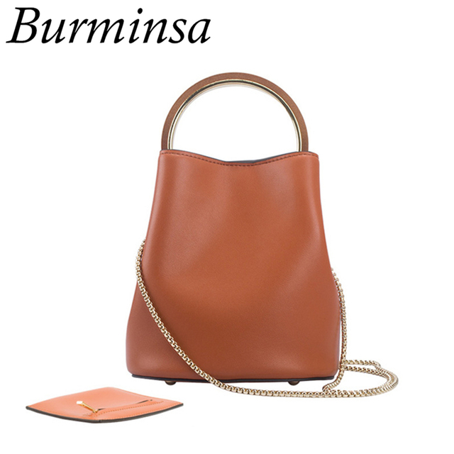 5ad0978239cf Burminsa 2 Pcs/Set Bucket Ladies Genuine Leather Bags Chain Female Shoulder  Messenger Bags Round