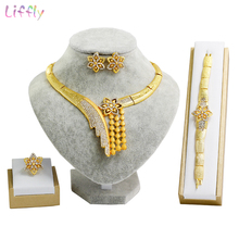 Liffly Fashion Dubai Gold Jewelry Sets Necklace Earrings Bridal Jewelry Set for Women Wedding Costume Jewellery недорого