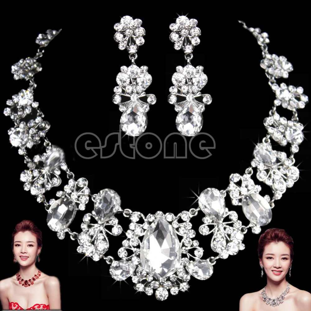 New Wedding Bridal Silver Red Jewelry Rhinestone Necklace Pendant Earrings Set
