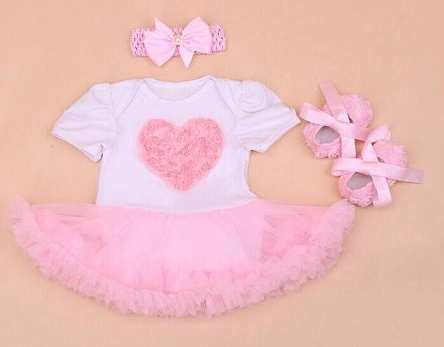 Одежда для новорожденных Наборы детские экипировка устанавливает корона Кружева Пачка Ползунки Платье девушка сердце детский комбинезон + Повязка + Обувь 3 шт. набор